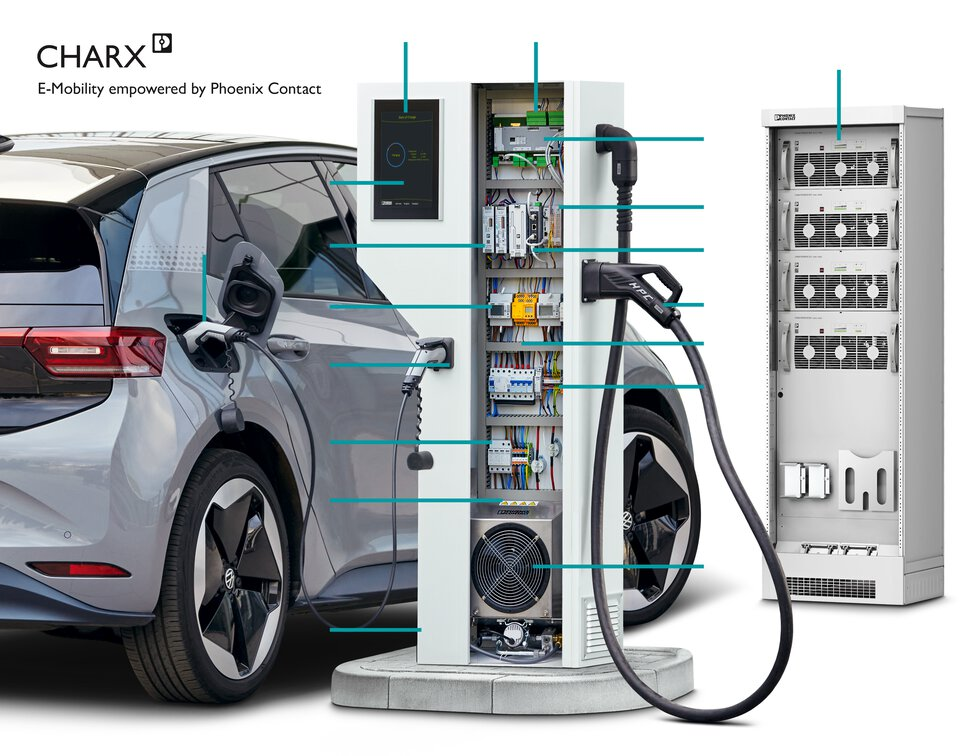 Electric car at a charging station equipped with components from Phoenix Contact